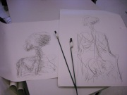 warm-up drawing made with charcoal on a stick using both hands to draw at the same time