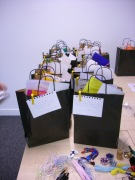 bags waiting for participants to arrive