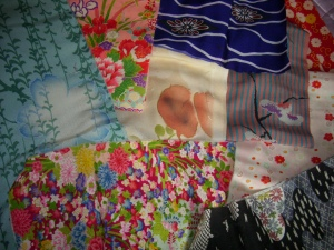 most recent purchases for my stash - pieces from old kimonos