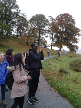 students documenting our walk